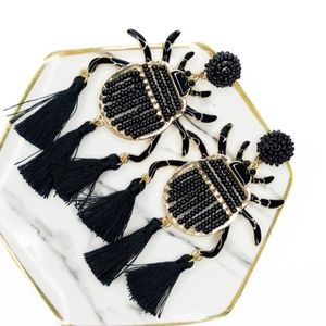 Black Beetle Statement Beaded Bug Earrings Tassel